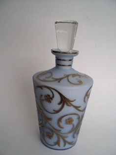 Vintage Hollywood Regency Gold Scroll Liquor Decanter Ground faceted cased glass