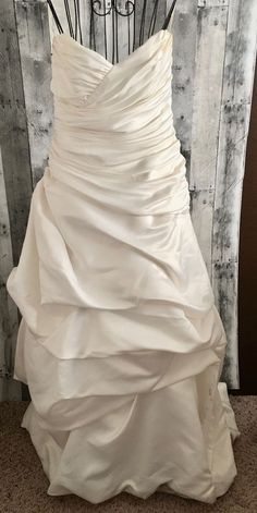 Mikaella Satin Ruched Wedding Bridal Gown Dress Strapless Off White Size Small #Mikaella #Bridal