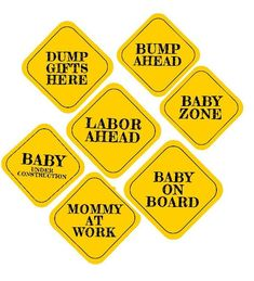 Baby On Board Infant Kid Child Car Vehicle Yellow Road Sign Shower Mom Gift NIB