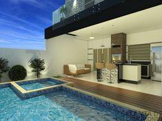 CS - 0027 projeto-planta-casa-sobrado-arquitetura-moderna-180-metros-terreno-8x25 (11) 3 D, Exterior, Patio, Outdoor Decor, Furniture, Design, Home Decor, Houses, Youtube