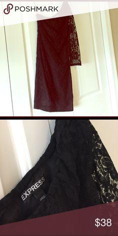 Lace black dress One shoulder lace black dress from express! Express Dresses One Shoulder