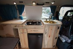 Image may have been reduced in size. Click image to view fullscreen. Vw T3 Camper, Travel Camper, Vw T4, Camper Life, Volkswagen, Diy Interior, Tiny Mobile House, Mobile Homes, Camper Van Kitchen