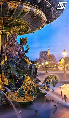 Fontaine des Mers ~ Place de la Concorde, Paris, France Love the light and water Oh The Places You'll Go, Places To Travel, Places To Visit, Paris Travel, France Travel, Foto Hdr, Paris France, Ville France, Paris City