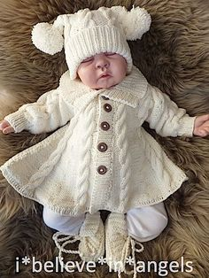 knitting pattern ksb 60 mondays child a matinee coat trousers hat and slippers set 0 3 months size - PIPicStats Diy Crafts Knitting, Knitting For Kids, Free Knitting, Baby Knitting Patterns Free Cardigan, Coat Patterns, Baby Patterns, Crochet Jacket, Crochet Hats, Crochet Poncho