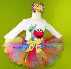 #MC Elmo Colorful Rainbow Splash Girls Tutu Birthday Outfit by PoshBabyStore.com