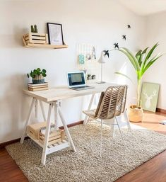 45 creative diy farmhouse home decor ideas and inspirations Cozy Home Office, Home Office Space, Home Office Design, Home Office Decor, Study Room Decor, Room Ideas Bedroom, Bedroom Decor, Decor Room, Workspace Inspiration