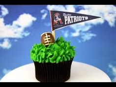 Football Cupcakes - perfect for Superbowl!  This tutorial and more available for FREE on our YouTube channel MyCupcakeAddiction
