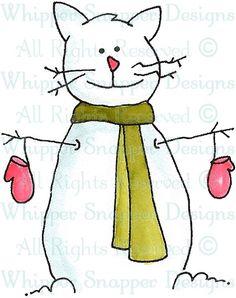 Snow Kitty - Snowmen Images - Snowmen - Rubber Stamps