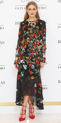Olivia Palermo celebrated the launch of her Ciate London collaboration in an exquisite floral-embroidered Preen dress that she styled with statement BaubleBar jewelry, a skinny belt, and red T-strap pumps. Look Olivia Palermo, Olivia Palermo Lookbook, Olivia Palermo Wedding, Cardigan Jeans, Her Style, Love Fashion, London Fashion, Celebrity Style, Style Inspiration