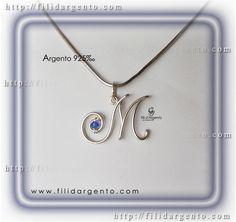 """Pendente Iniziale """"M"""" 1 in Argento 925‰ Wire e Swarovski / Pendant Initial """"M"""" 1, 925 ‰ Silver Wire and swarovski"""