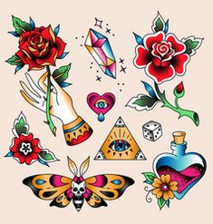 Set of color tattoos at traditional vintage style. Flash Art Tattoos, Tattoo Flash Sheet, Traditional Tattoo Flowers, Traditional Tattoo Old School, Traditional Tattoo Flash, Neue Tattoos, Arabic Tattoos, Script Tattoos, Poster Club