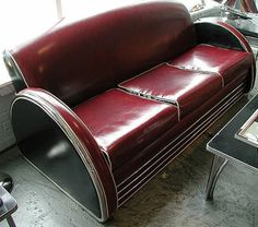 Art Deco leather couch