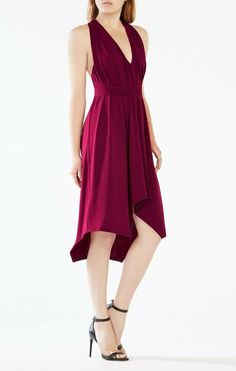 $228 BCBG MaxAzria Deep Cranberry Vneck Jersey Dara Belted Dress S 4 6 NEW B778 #BCBGMAXAZRIA #CrissCrossDressFitFlareDress #PartyCocktail Fit Flare Dress, Fit And Flare, Jersey Knit Dress, Belted Dress, V Neck Dress, Purple Dress, Wrap Dress, Deep, Dresses