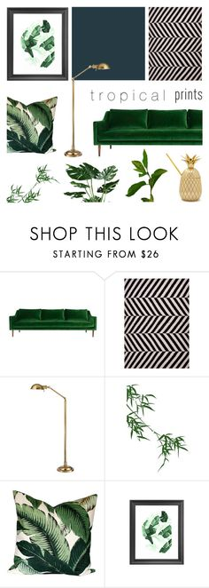 """""""Tropical Prints Decor '16"""" by rachaelselina ❤ liked on Polyvore featuring interior, interiors, interior design, home, home decor, interior decorating, ModShop, Jaipur, Hudson and WALL"""