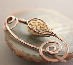Shawl pin scarf pin in copper with caged antiqued by IngoDesign, $26.00