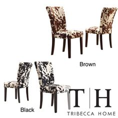 @Overstock.com - TRIBECCA HOME Portman Cow Hide Parson Side Chairs (Set of 2) - Add contemporary sophistication to your dining area with a pair of elegant parson dining chairs. These side chairs are wrapped with supple cow hide-print fabric thats soft to touch and boast poplar wood legs in a cherry finish for extra stability.  http://www.overstock.com/Home-Garden/TRIBECCA-HOME-Portman-Cow-Hide-Parson-Side-Chairs-Set-of-2/7295836/product.html?CID=214117 $170.99