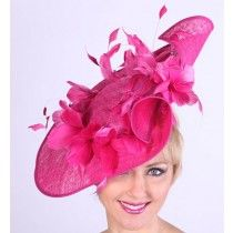 Fuchsia-Pink Feather Profile Fascinator for the Kentucky Oaks! by HAT-A-TUDE.COM