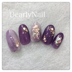 Cute and Romantic Valentine's Day Nail Art Designs Nail Art Designs, Colorful Nail Designs, Korean Nail Art, Korean Nails, Cute Nail Art, Gel Nail Art, Purple Nails, Matte Nails, Japan Nail Art
