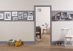 Door Frame And Skirting Boards 43 Ideas For 2019 White Doors, White Walls, Coloured Skirting Boards, Painting Door Frames, White Hallway, Striped Hallway, Hallway Decorating, Decorating Ideas, Internal Doors
