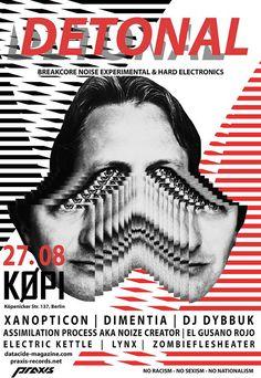 Flyer - Detonal, Xanopticon, Electric Kettle, Zombieflesheater, Lynx, Dementia, ..., Breakcore, Experimental, Hardcore, Noise @ Köpi Berlin (2016)