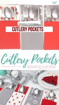 CUTLERY POCKETS SEWING TUTORIAL Dress up your pretty holiday cutlery even more with these adorable pockets. Making a DIY cutlery holder with fabric could not get any easier and these Christmas cutlery holders definitely have to be on your table! Christmas Sewing Projects, Small Sewing Projects, Sewing Projects For Beginners, Sewing Hacks, Sewing Tutorials, Christmas Diy, Sewing Crafts, Sewing Tips, Christmas Sewing Gifts
