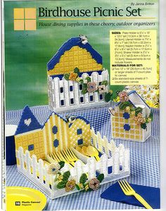BIRDHOUSE PICNIC SET by JANNA BRITTON 1/8 Plastic Canvas Ornaments, Plastic Canvas Tissue Boxes, Plastic Canvas Crafts, Plastic Canvas Patterns, Plastic Craft, Paper Plate Holders, Napkin Holders, Canvas 5, Canvas Ideas
