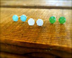 Little Girl Earrings Blue Green & Silver by SunflowerBlueDesigns