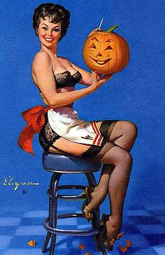 Halloween pin-up... I have this on my Halloween board, but I like it so much, I think I'll have her here as well.