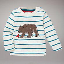 Buy John Lewis Bear Stripe Jumper, Cream/Turquoise Online at johnlewis.com