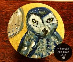 Owl and Mountain Hand Painted Wood Magnets by RootinForYourLife