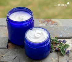 two jars of homemade lotion for sensitive skin