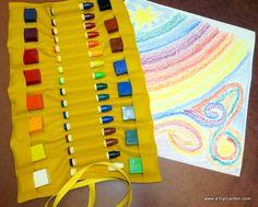 Golden Felt Crayon Case for Block & Stick Crayons