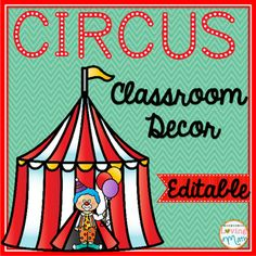 This editable classroom pack includes everything you need to decorate your circus themed classroom. Everything included in this pack is editable for your convenience.196 pages of pre-made and editable resources.Includes:-Multi-use labels in different colors and sizes.-Calendar Months-Calendar Days of the Week-Calendar Numbers (1-36) Multi-use*-Classroom Rules -Classroom Schedule Cards-Welcome Banner-Make Your Own Banner-Pennant-Table Numbers-Word Wall Headers-Name Plates-Book Basket…