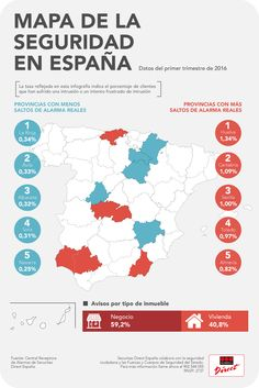 Mapa de la #seguridad en #España: Huelva es la provincia con más saltos de alarma en lo que va de 2016, y Navarra la que menos.