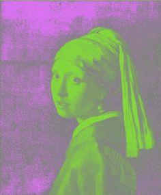 Pop Art Print Girl With a Pearl Earring in Green by WendyFerguson, $12.00