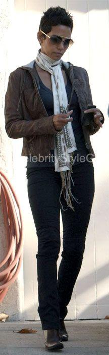 Halle Berry visiting a friend's home December 3, 2009  Wearing Cecilia De Bucourt Fringe Scarf