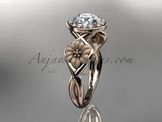 """Unique 14kt rose gold diamond flower wedding ring, engagement ring with a """"Forever Brilliant"""" Moissanite center stone ADLR219"""