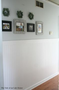 Adding bead board to a hallway adds charm and character to a boring space!