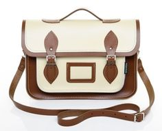 Cream and Brown Leather Satchel