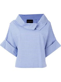 White and blue cotton 'Achir' pinstriped collar fold wide sleeve blouse from Erika Cavallini. Cotton Blouses, Shirt Blouses, Blouse Styles, Blouse Designs, Chic Outfits, Fashion Outfits, Womens Fashion, African Wear, African Fashion Dresses