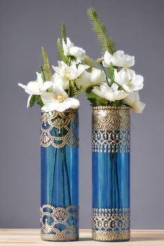 Moroccan Vases Blueberry Tinted Glass with Gold by LITdecor