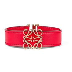 LOEWE Anagram Belt Bracelet Red/Gold (€210) ❤ liked on Polyvore featuring jewelry, bracelets, red jewellery, red bangles, red gold jewelry, gold bangles and gold jewelry