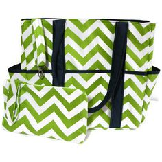 Extra Large Diaper Bag Tote Nappy Bag Green Navy Chevron