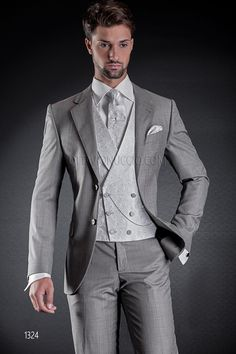"""""""2 buttons light grey formal suit with double-breasted vest in silk""""…"""