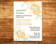 Wedding Invitation with oranges - available as DIY PDF Printable