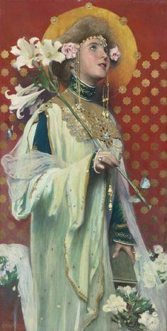 Gottlieb Theodor von Kempf-Hartenkampf (Austrian, LILIES oil on canvas X cm Gravure Illustration, Illustration Art, Illustrations, La Madone, Pre Raphaelite, Victorian Art, Art Graphique, Religious Art, Figurative Art
