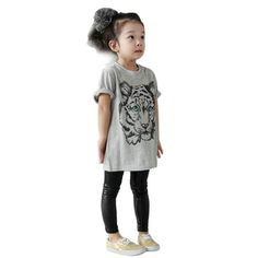 New Fashion Lovely Baby Girls Kids Korean Tiger Printed Casual T-shirt Cotton Shirt Clothes #Affiliate