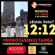 igerscolombiaEstán Listos para el cumpleaños de Bogotá??? @igersbogota & @btasimultanea quieren invitarlos a que hagan parte del reto #BogotaSimultanea. ¿Cómo participar?  1. Pon ya la alarma de tu celular para que suene el mañana 6 de agosto a las 12:12 del medio día.  2. Al sonar la alarma tomarás una foto de donde estés en ese momento, mostrándonos con tu imagen como vives Bogotá.  3. Una vez hayas tomado tu fotografía y la tengas lista compártela y usa el Tag #bogotasimultanea…
