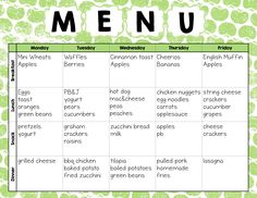 childcare lunch menu google search meals for the day care pinterest lunch menu. Black Bedroom Furniture Sets. Home Design Ideas