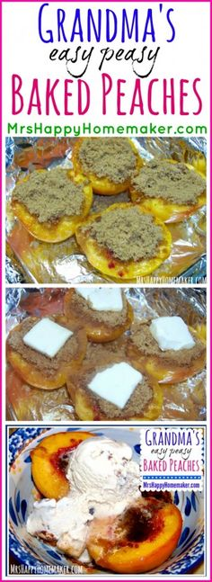 Grandma's Easy Peasy Baked Peaches are SO good! This recipe is so easy, it shouldn't even be called a recipe – you don't even need ingredient measurements! | MrsHappyHomemaker.com @ThatHousewife